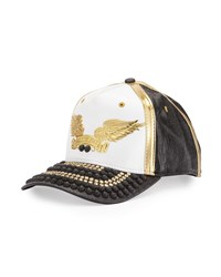 Robin's Jean Colorblock Studded Bill Baseball Cap White