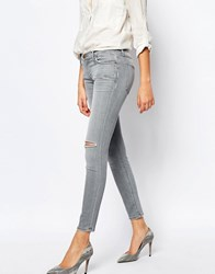 Current Elliott Ankle Skinny Jeans With Ripped Knee And Distressing Grey