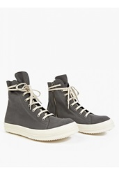 Rick Owens Grey Coated Canvas Hi Top Sneakers