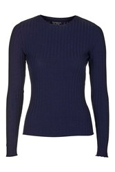 Topshop Long Sleeve Spongy Ribbed Top Navy Blue