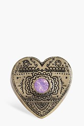 Boohoo Katie Engraved Stone Set Heart Ring Gold