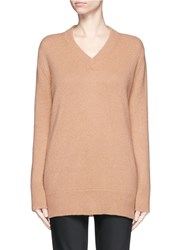 The Row 'Manta' Cashmere Silk V Neck Long Sweater Brown