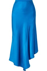 Anine Bing Bailey Asymmetric Silk Charmeuse Midi Skirt Azure