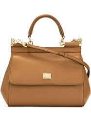 Dolce And Gabbana Small Sicily Shoulder Bag Brown