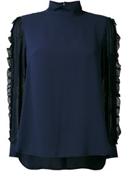 Muveil See Through Sleeves Blouse Blue