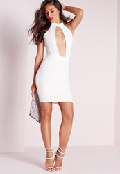 Missguided High Neck Mesh Insert Keyhole Bodycon Dress White White