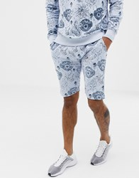 Soul Star Co Ord Printed Jersey Shorts Grey