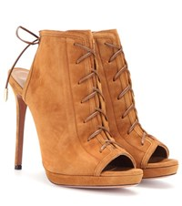 Aquazzura Hana 115 Suede Lace Up Sandals Brown