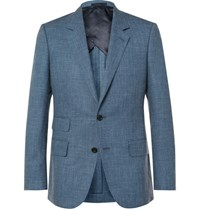 Kingsman Blue Eggsy Slim Fit Melange Wool Silk And Linen Blend Suit Jacket Blue