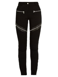 Givenchy Zip And Leather Trim Double Knit Leggings Black