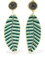 Mercedes Salazar Hoja Clip On Statement Earrings Multicolor