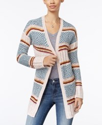 Hippie Rose Juniors' Striped Open Front Cardigan Outlaw Turquoise Combo