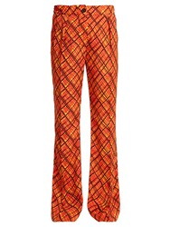 Marni Tartan Print Flared Trousers Orange Print