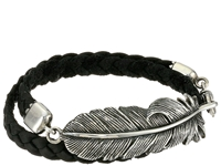 King Baby Studio Double Wrap Leather Bracelet With Raven Feather