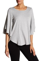 Pleione Stripe Knit Bell Sleeve Shirt Gray