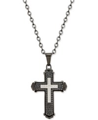 Macy's Men's Diamond Cross Pendant Necklace 1 2 Ct. T.W. In Stainless Steel With Black Ion Plating