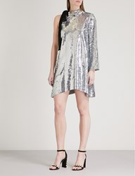 Moandco. One Shoulder Sequined Mini Dress Silver