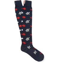 Thom Browne Patterned Cotton Socks Blue