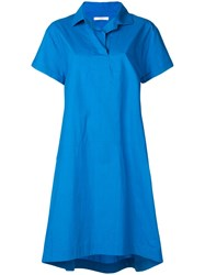 Odeeh Loose Polo Shirt Dress Blue