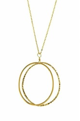 Charlene K 14K Gold Vermeil Double Circle Pendant Necklace Metallic