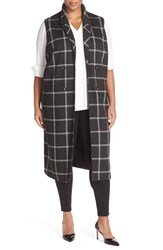 Halogenr Plus Size Women's Halogen Windowpane Check Long Vest