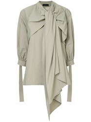 Eudon Choi Draped Tie Knot Blouse Nude And Neutrals