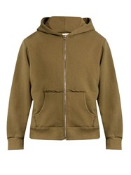 Simon Miller Alondra Zip Through Cotton Hooded Sweatshirt Khaki