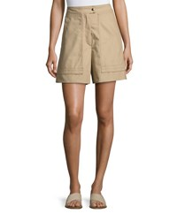 Isabel Marant High Waist Cotton Shorts Beige