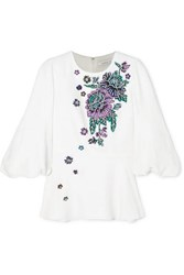 Andrew Gn Embellished Woven Peplum Blouse White