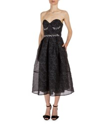 Erdem Demet Beaded Strapless Corset Party Dress Black