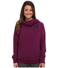 Nike Rally Funnel Neck Hoodie Mulberry Mulberry Midnight Navy Women's Sweatshirt Red