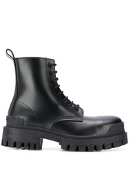 Balenciaga Military Style Ankle Boots Black