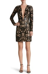 Dress The Population Women's Plunging Illusion Sequin Lace Minidress Black Nude