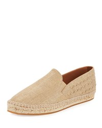 Bottega Veneta Flat Woven Espadrille Slip On Light Gold Light
