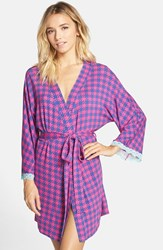 Women's Honeydew Intimates 'All American' Robe Blue Houndstooth