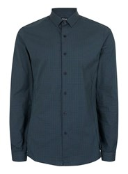Topman Green And Navy Gingham Stretch Skinny Fit Dress Shirt