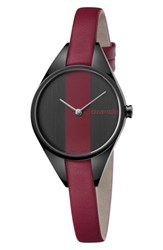 Calvin Klein Achieve Rebel Leather Band Watch 29Mm Red Black