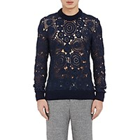 Orley Men's Crocheted Lace Sweater Navy
