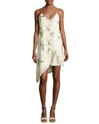 Haute Hippie The Waterfall Floral Silk Slip Dress White Green White Pattern