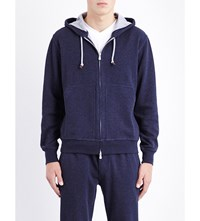 Brunello Cucinelli Zipped Cotton Blend Hoody Navy
