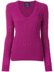 Polo Ralph Lauren Cable Knit V Neck Jumper Cashmere Wool Pink Purple