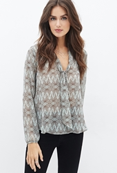 Forever 21 Butterfly Print Tie Neck Blouse