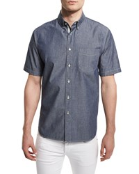 Rag And Bone Rag And Bone Standard Issue Woven Short Sleeve Shirt Indigo Size Small