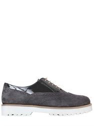 Hogan Suede And Patent Leather Oxford Shoes