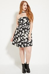 Forever 21 Plus Size Pleated Floral Dress Black Cream