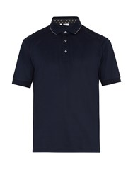 Brioni Stitch Embroidered Cotton Jersey Polo Shirt Blue