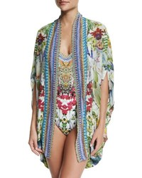 Camilla Open Front Embellished Silk Cardigan Cape Coverup Exotic Hypnotic