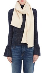 Denis Colomb Women's Fringed Woven Cashmere Scarf Beige Ivory Beige Ivory