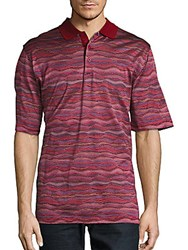 Bugatchi Short Sleeve Cotton Knit Polo Wine