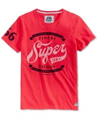 Superdry Men's Finery Goods Graphic Print Logo T Shirt Indiana Red